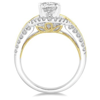 1/2ct tw Diamond Halo Engagment Ring Setting in 14K White & Yellow Gold