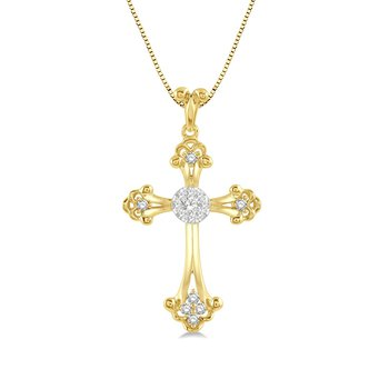 1/4ct tw Diamond Cross Necklace in 14K White & Yellow Gold