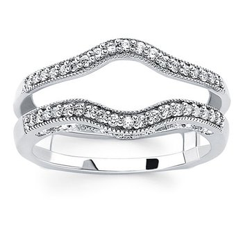 1/4ct tw Diamond Wedding Ring Guard in 14K White Gold