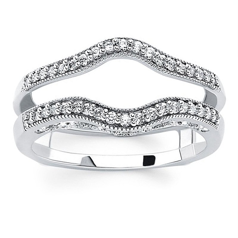 1/4ct tw Diamond Wedding Ring Guard in 14K White Gold