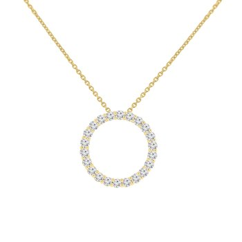 3/4ct tw NewBorn Lab Created Diamond Circle Necklace in 14K Yellow Gold