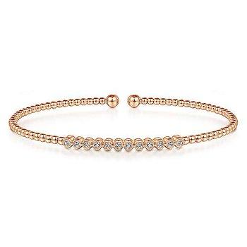 1/8ct tw Diamond Bujukan Bangle Bracelet in 14K Rose Gold