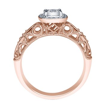 1/5ct tw Diamond Halo Engagement Ring in 10K Rose Gold
