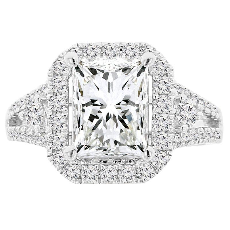 3 1/2ct tw NewBorn Lab Created Diamond Halo Engagement Ring in 18K White Gold