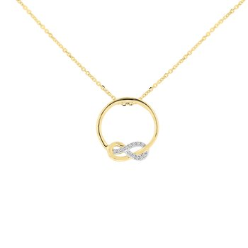 .05ct tw Diamond Knot Circle Necklace in 10K White & Yellow Gold