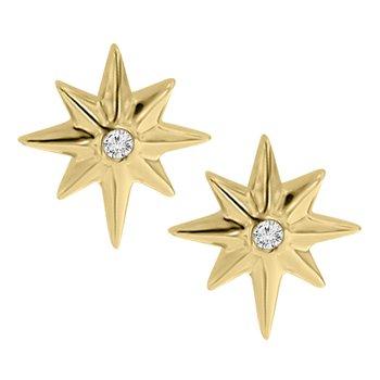 .01ct tw Diamond Star Stud Earrings in 10K Yellow Gold