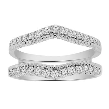 3/8ct tw Diamond Wedding Ring Guard in 14K White Gold