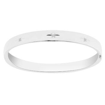 1/14ct tw Diamond Bangle Bracelet in Sterling Silver