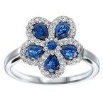1 1/3ct tw Diamond & Blue Sapphire Flower Ring in 14K White Gold