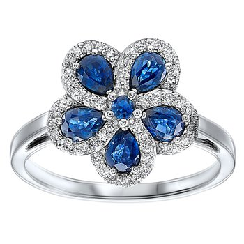 1 1/3ct tw Diamond & Blue Sapphire Flower Ring in 14K White Gold