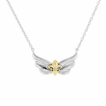 .01ct tw Diamond Fleur De Lis & Wings Necklace in Sterling Silver & 10K Yellow Gold
