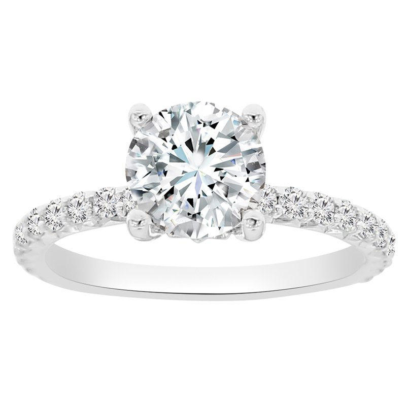3/8ct tw NewBorn Lab Created Diamond Fleur De Lis Engagement Ring Setting in 14K White Gold