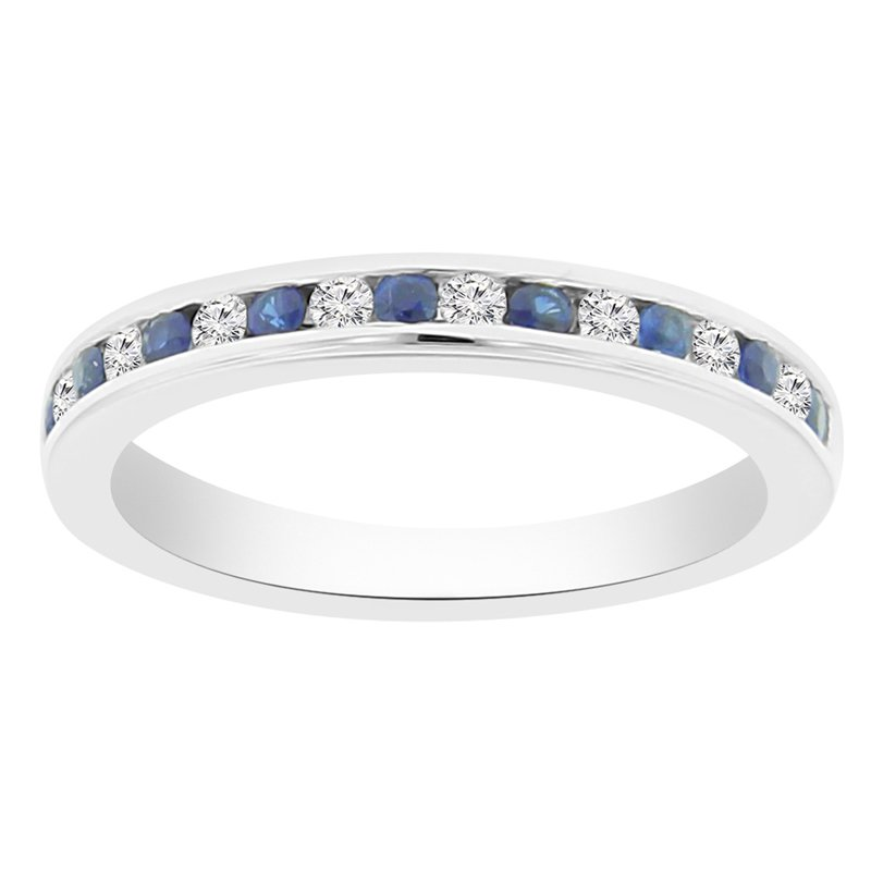 3/8ct tw Diamond & Blue Sapphire Stackable Ring in 14K White Gold
