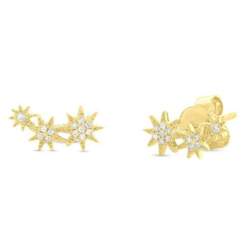 .06ct tw Diamond Celestial Stud Earrings in 14K Yellow Gold