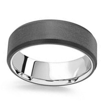 7mm Wedding Ring in 14K White Gold & Black Carbon Fiber