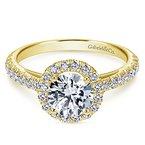 2ct tw NewBorn Lab Created Diamond Halo Engagement Ring in 14K Yellow Gold