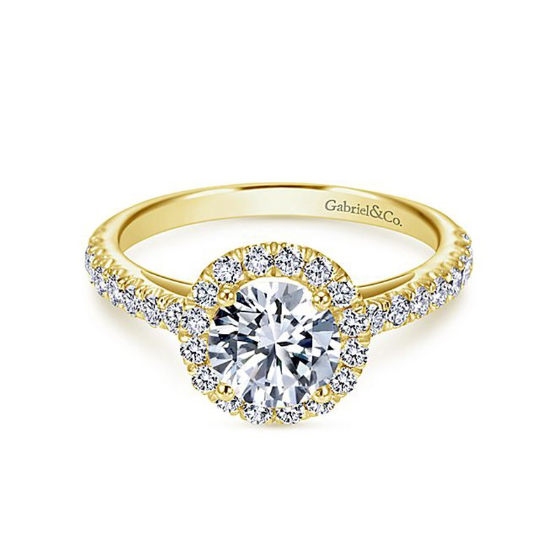 2ct tw NewBorn Lab Created Diamond Halo Engagement Ring in 14K Yellow Gold