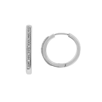 .03ct tw Diamond Hoop Earrings in Sterling Silver and Steel