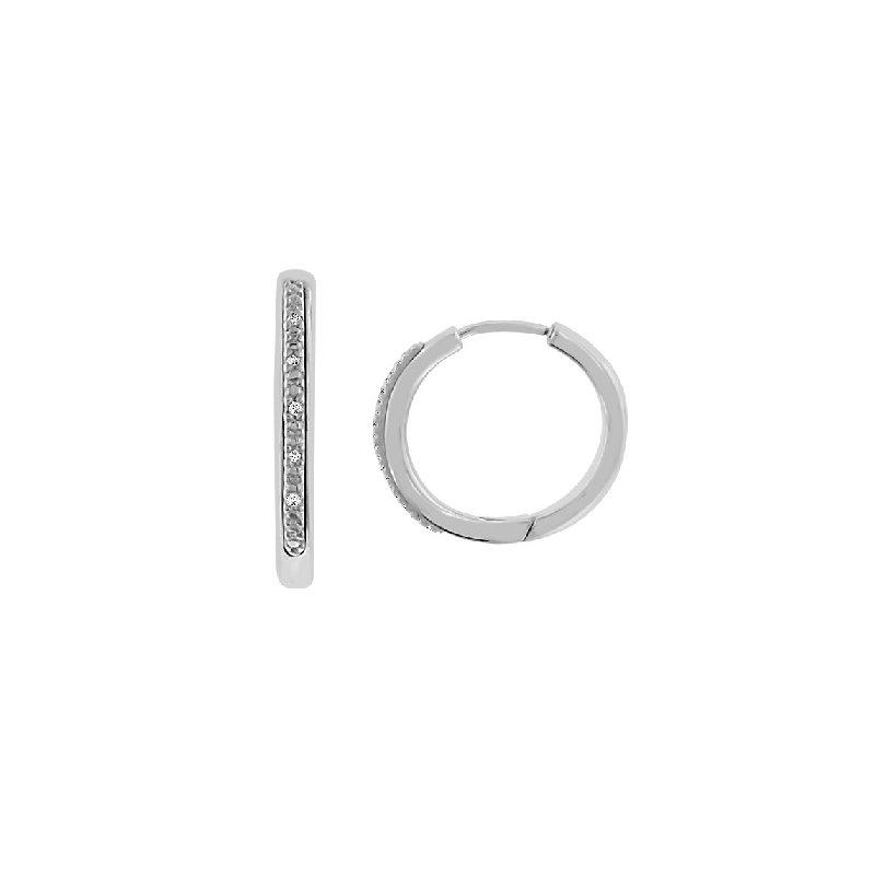 .03ct tw Diamond Hoop Earrings in Sterling Silver and Steel