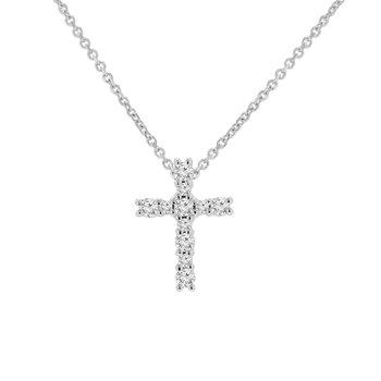 1/5ct tw NewBorn Lab Created Diamond Cross Necklace in 14K White Gold