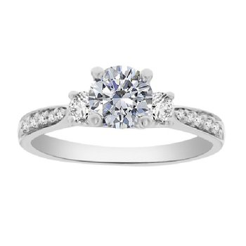 3/4ct tw Diamond Three Stone Engagement Ring in 14K White Gold