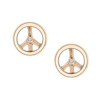 .01ct tw Diamond Peace Stud Earrings in 10K White & Rose Gold