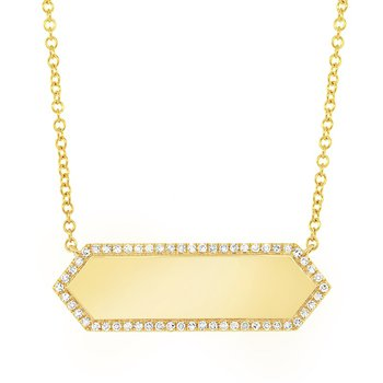 1/8ct tw Diamond Engraveable Bar Necklace in 14K Yellow Gold