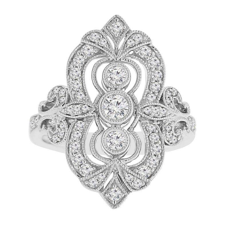 5/8ct tw Diamond Fleur De Lis Ring in 14K White Gold