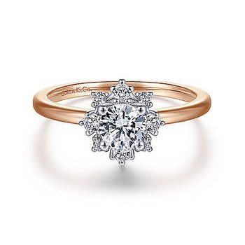 1/5ct tw Diamond Halo Engagement Ring Setting in 14K White & Rose Gold