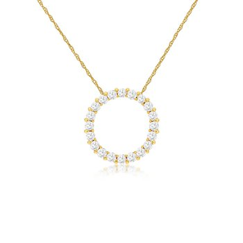 1/4ct tw Diamond Circle Necklace in 14K Yellow Gold