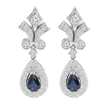 9/10ct tw Diamond & Blue Sapphire Halo Earrings in 14K White Gold
