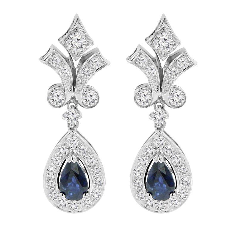 9/10ct tw Diamond & Blue Sapphire Halo Earrings in 14K White Gold