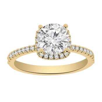 1 1/8ct tw Diamond Halo Engagement Ring in 14K Yellow Gold