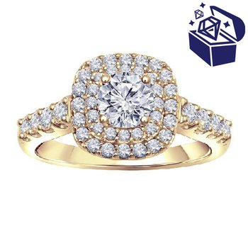 Treasure Hunt Value 1ct tw Diamond WOW Halo Engagement Ring in 14K Yellow Gold