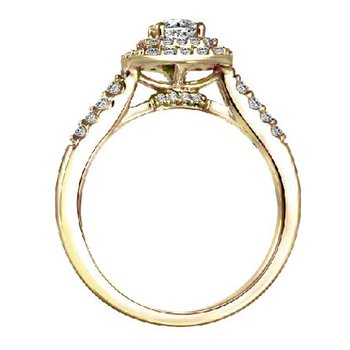 1ct tw Diamond WOW Halo Engagement Ring in 14K Yellow Gold