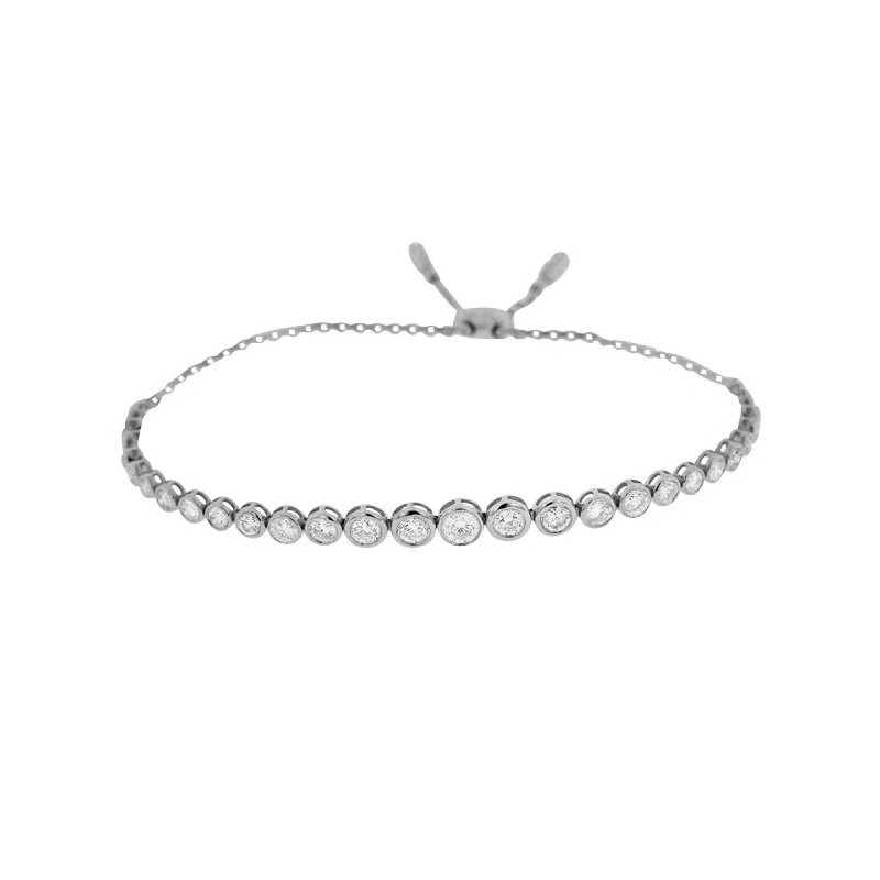 2ct tw Diamond Bolo Bracelet in 14K White Gold.