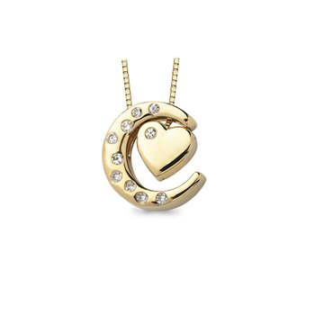 1/10ct tw Diamond Moon & Back Necklace in 10K Yellow Gold