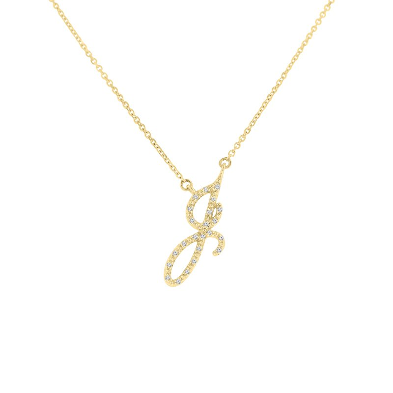 .06ct tw NewBorn Lab Created Diamond Love Letter Necklace in 10K Yellow Gold