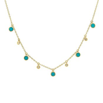 3/4ct tw Diamond & Composite Turquoise Necklace in 14k Yellow Gold