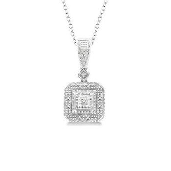 .05ct tw Diamond Halo Necklace in Sterling Silver