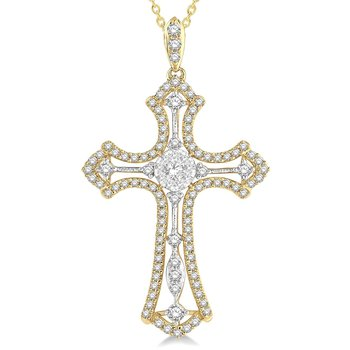 3/4ct  tw Diamond Thousand Points of Light Cross Necklace in 14K White & Yellow Gold