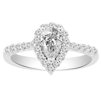 7/8ct tw NewBorn Lab Created Diamond Halo Engagement Ring in 14K White Gold