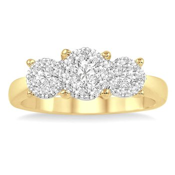 1ct tw Diamond Thousand Points of Light Engagement Ring in 14K White & Yellow Gold