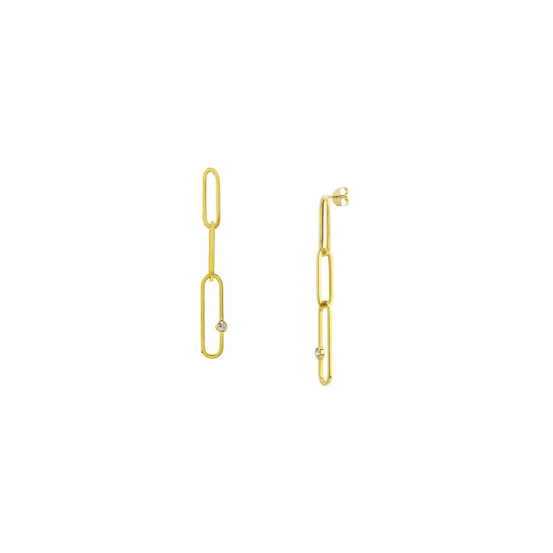 1/8ct tw Diamond Paperclip Chain Earrings in 14K Yellow Gold