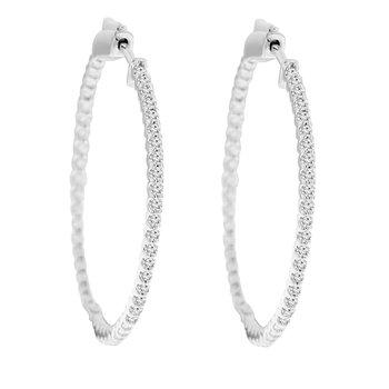 1ct tw Diamond Hoop Earrings in 14K White Gold