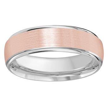 6mm Wedding ring in 14K White & Rose Gold