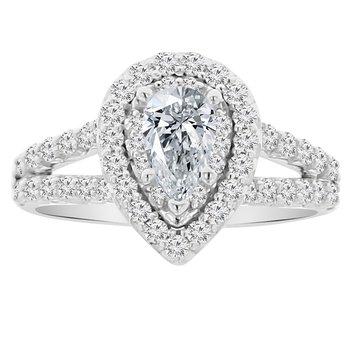 3/4ct tw NewBorn Lab Created Diamond Halo Engagement Ring Setting in 14K White Gold