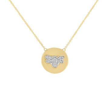".05ct tw Diamond ""Bee Mine"" Bee Necklace in 10K Yellow Gold"