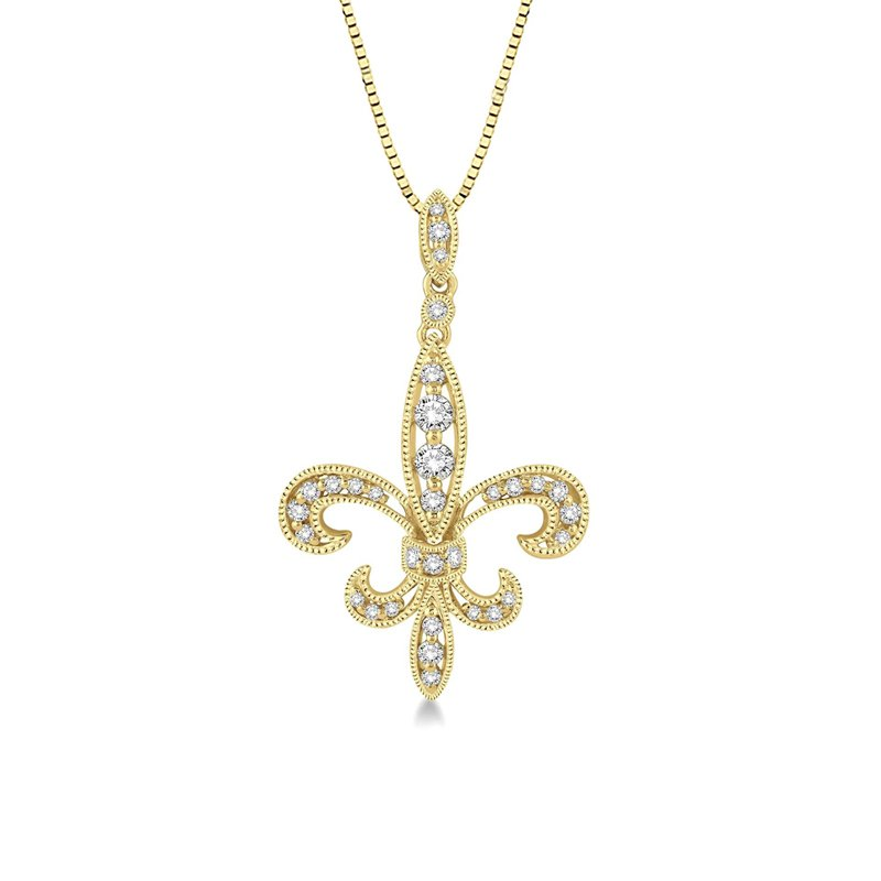 1/3ct tw Diamond Fleur de Lis Necklace in 14K Yellow Gold