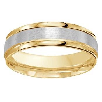 6mm Wedding Ring in 10K White & Yellow Gold